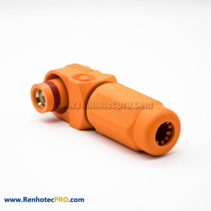 Connector For High Current Female IP67 400A 14mm 1 Pin Plastic Cable Orange Right Angle Plug