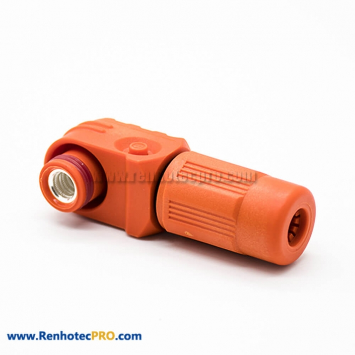 1 Pin Waterproof Connector Female 120A 6mm IP67 Plastic Orange Cable Right Angle Plug