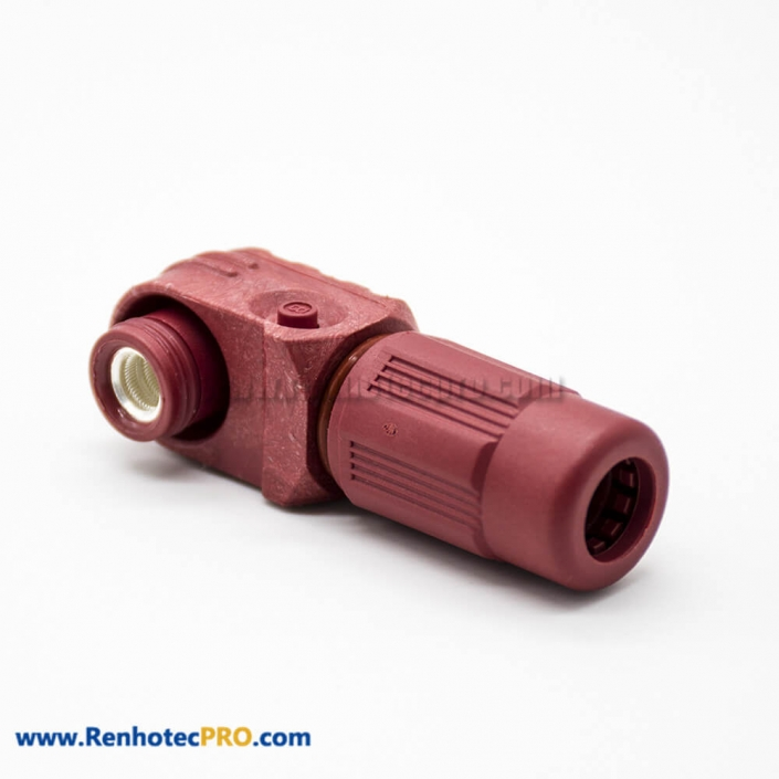 High Voltage High Current Connector Female 6mm 1 Pin IP67 Plastic Cable Red 120A Right Angle Plug