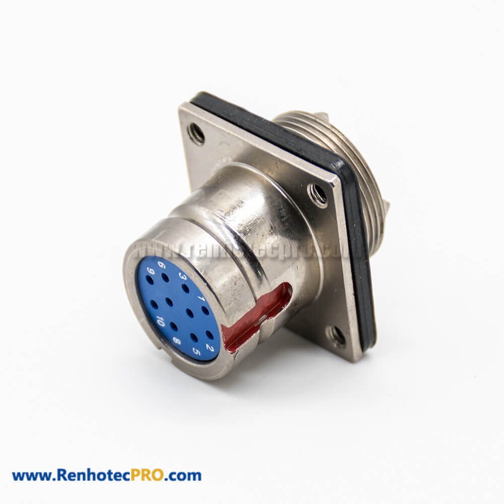 10 Pin Connector Female Butt-jiont Male Y27G Plug&Socket 4 Hole-Flange Admiralty Metal Solder cup Straight Bayonet Coupling