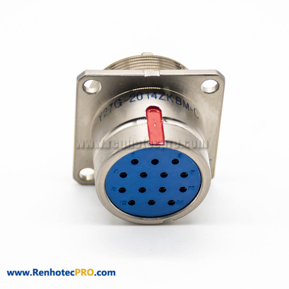 14 Pin Connector Female Y27G Socket 20 Shell Size Panel Mount 180° Admiralty Metal Solder cup