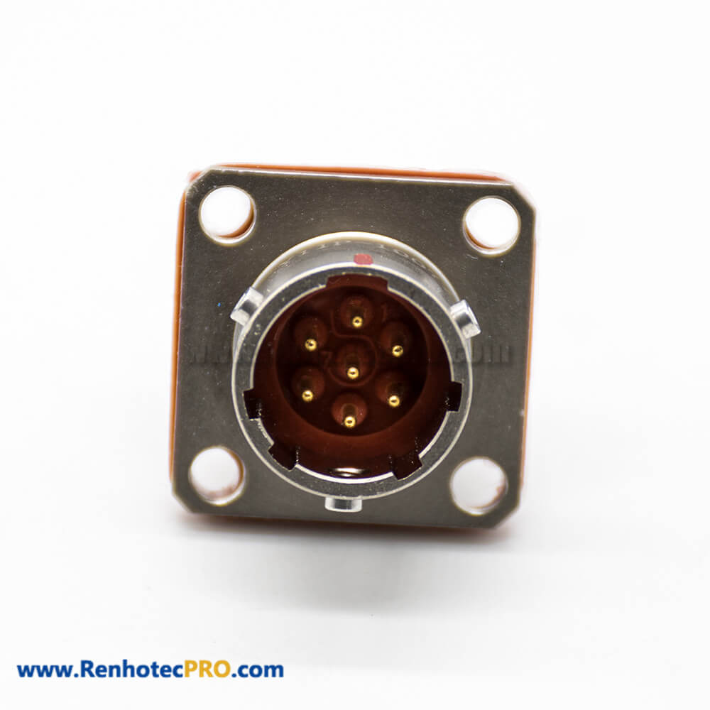 7 Pin Male Socket Bayonet Coupling Panel Mount 4 Hole Flange Solder Cup Straight 10 Shell Y11P Connector
