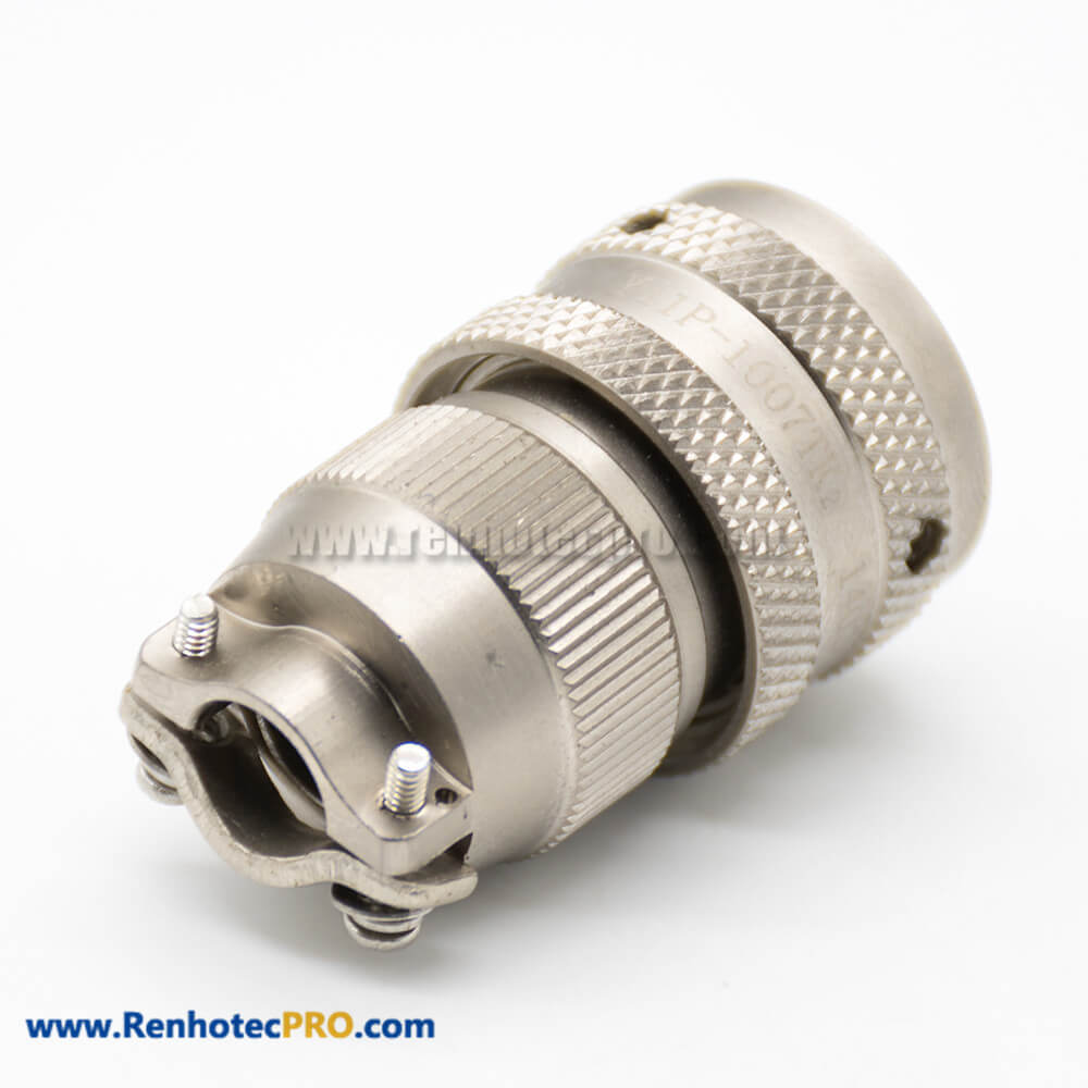 7 Pin Female Plug Bayonet Coupling Cable Sold Thread Clamp Plate Straight Aluminum Alloy 10 Shell Y11P Connectors