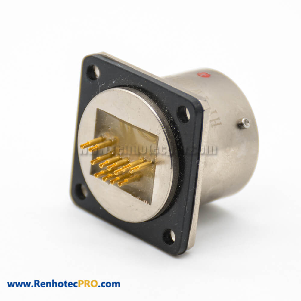 YW RJ-45 Interface Plug Cable Solder Socket Panel Mount Solder Cup Male Butt-Joint Female Bayonet Coupling 4 Hole Flange Straight Circular Connector