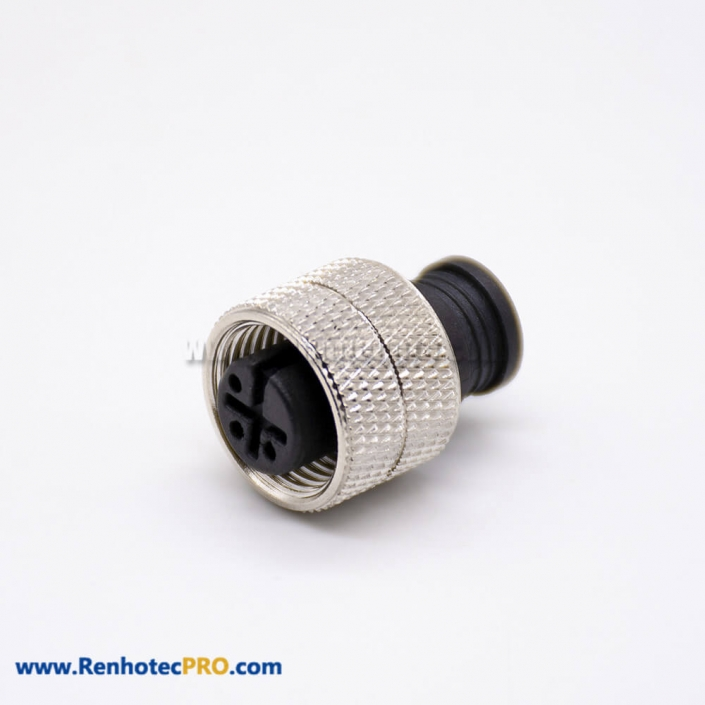 M12 Sensor Unshielded Overmolded Solder Cup 3 Pin Straight Female Connector