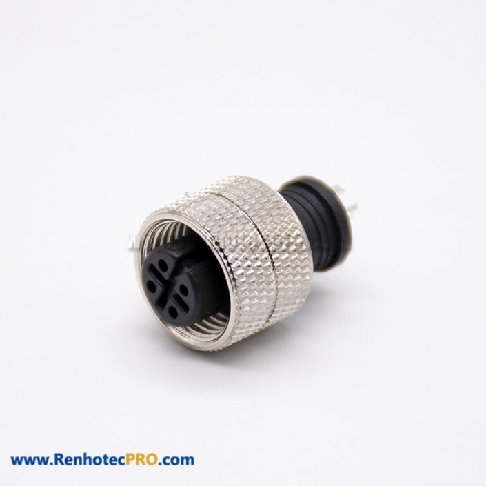 M12 Sensor Connector Straight Female Solder Cup Unshielded 4 Pin Plug