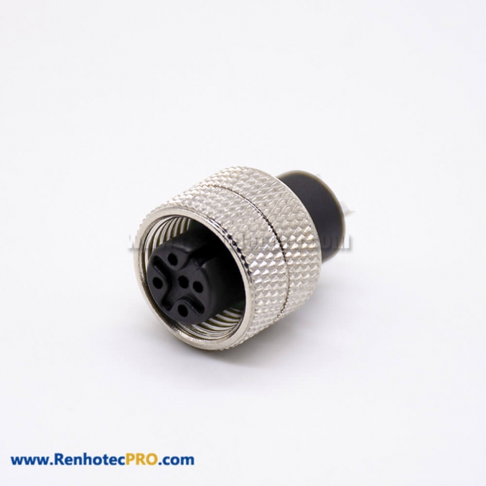 m12 Connector 5 pin Straight Female Overmolded Solder Cup Unshielded