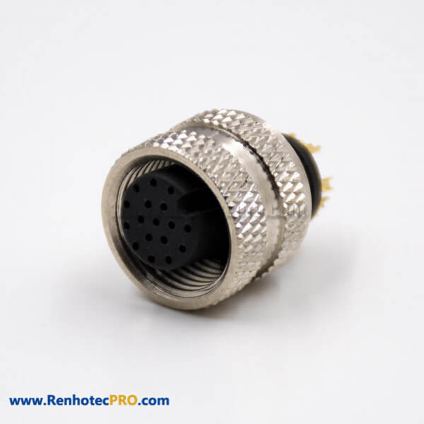 Female Connector M12 17 Pin Straight A Coded Non-shield Solder Molded Cable Connector