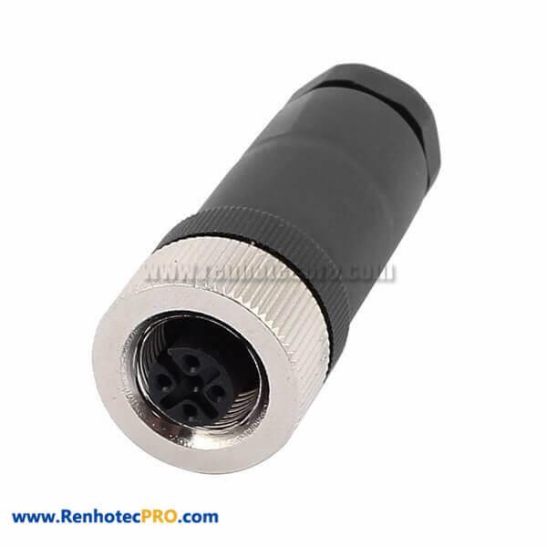M12 Sensor Connector 3 Pin A Coded Female Piug Straight Screw-Joint Non-Shield