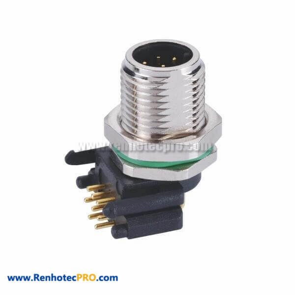 8 Pin M12 Male Connector A Code Receptacles With Right Angled PCB Contacts