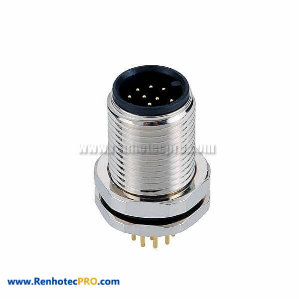 12 Pin A Code M12 Industrial Ethernet Connector Straight Front Mount Connector With PCB Mounting