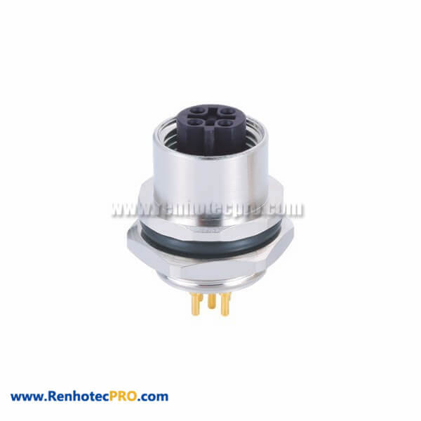 5Pin Female M12 Sensor ConnectorB Code Straight Back Mount Connector With PCB Contacts