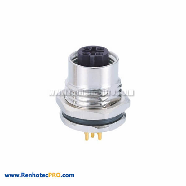 Female 5 Pin M12 B Coded Circular Metric Connectors Straight Panel Front Mounting For PCB