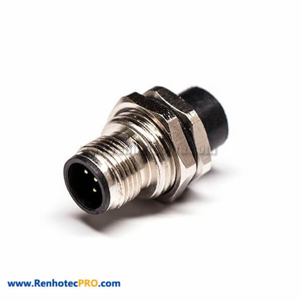 M12 5 Pin B Coded Sensor Connector Receptacles Male Straight Front Mount Socket PCB Contacts