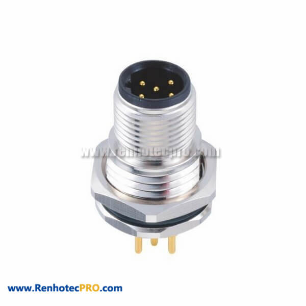 Male 5Pin M12 B Coded Connector Straight Front Mount For PCB Circular Connector