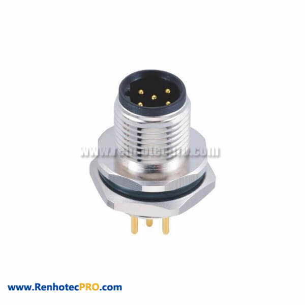 5 Pin B Code M12 Socket Straight Male Rear Panel Mount Connector PCB Type