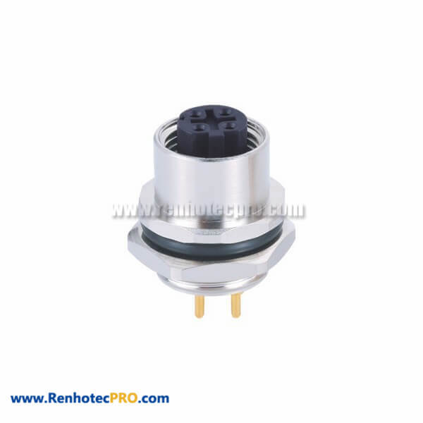 4Pin Female M12 D Coded Connector Straight Receptacle Socket PCB Type Rear Mounting Socket