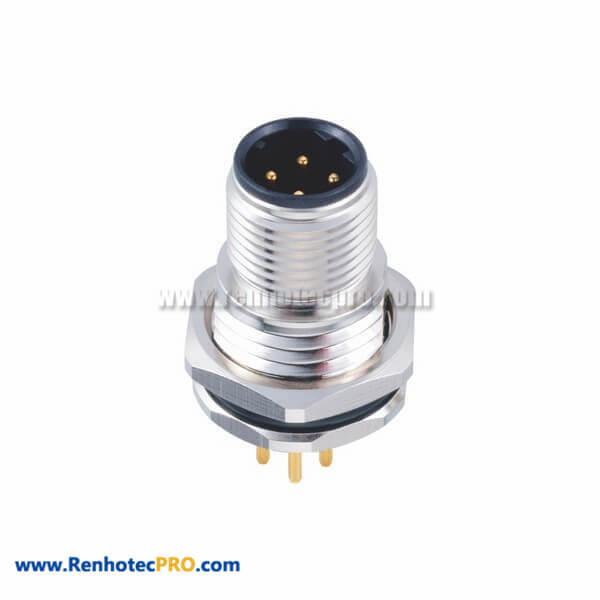 Male 4Pin M12 D Coded Circular Connector Straight Front Mount With PCB Contacts