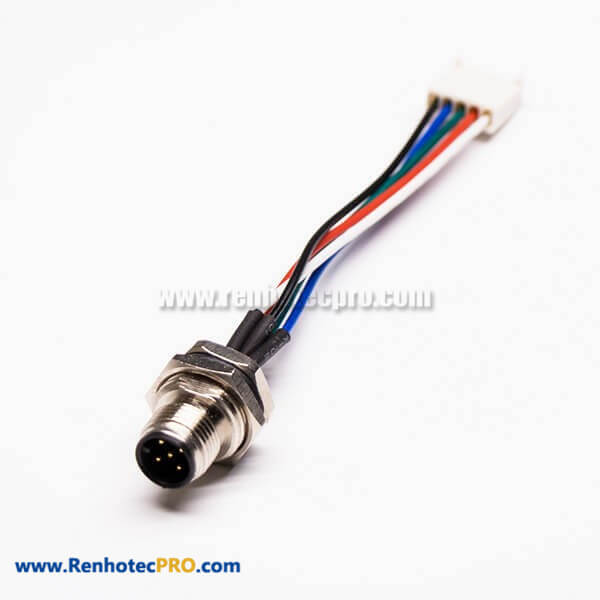 Wire Harness M12 5 Pin Connector M12 5Pin A Code Front Mount to 5Pin Terminal AWG24 Wires 30CM