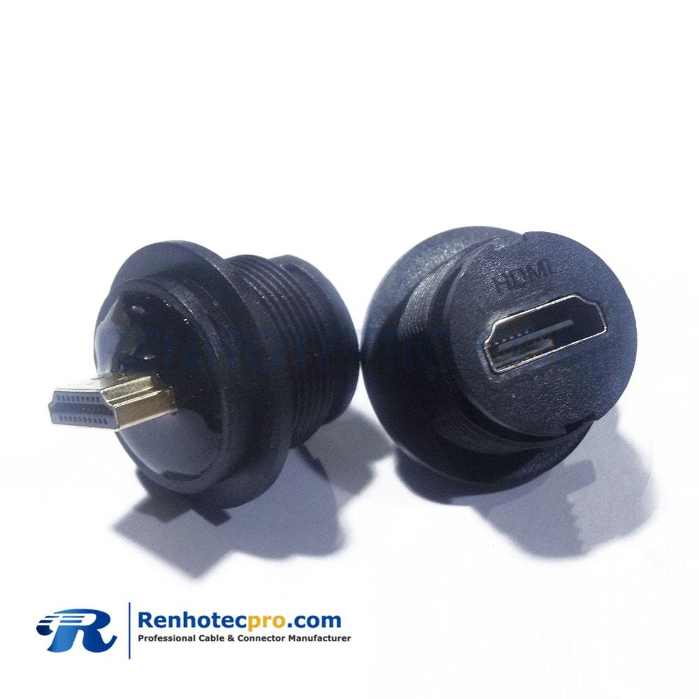 HDMI adapter TYPE A 19pin Fmale to type A MaleM25 LOCK adapter ip67 waterproof socket