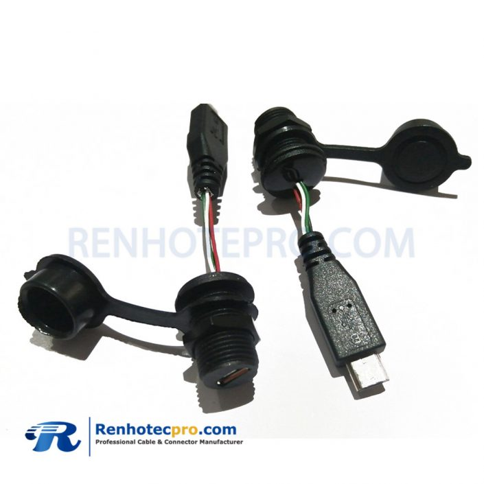 IP67 MicroUSB 5Pin Female M12 screw Socket with Cable to Male Waterproof micro USB Molding Cable