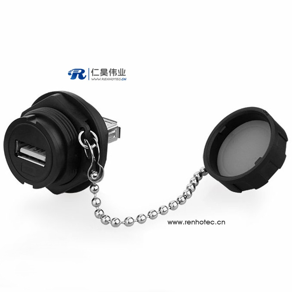 IP67 USB 2.0 Type A Connectors Female to Male Adapter with metal chain Dust Cover