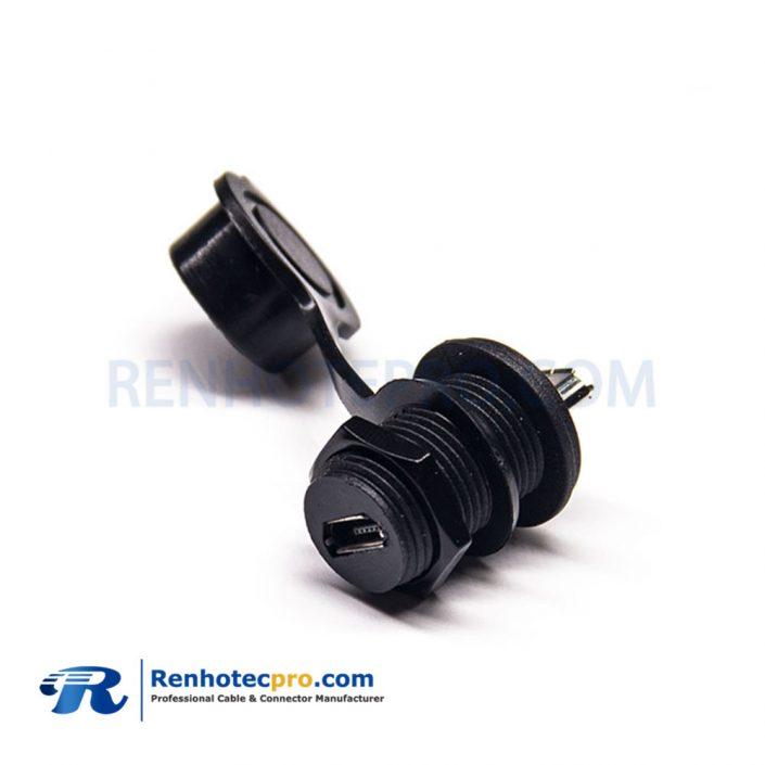 IP67 Waterproof MicroUSB 5Pin M12 screw Female to Female Adapter Socket