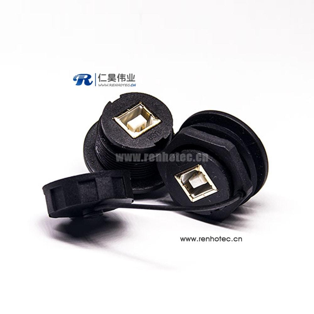 IP67 Waterproof USB Connector USB2.0 Type B Female Panel Lock Connectors