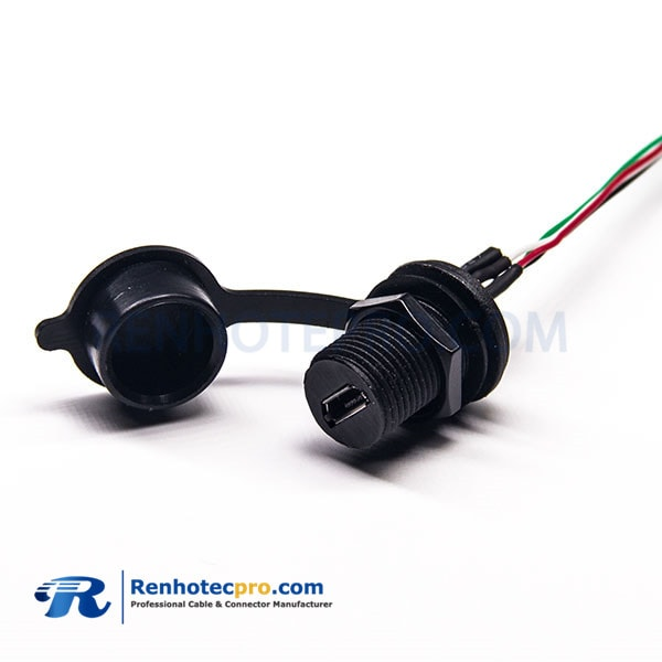 MicroUSB 5P Female M12 screw Socket with Terminal Wire 0.3m