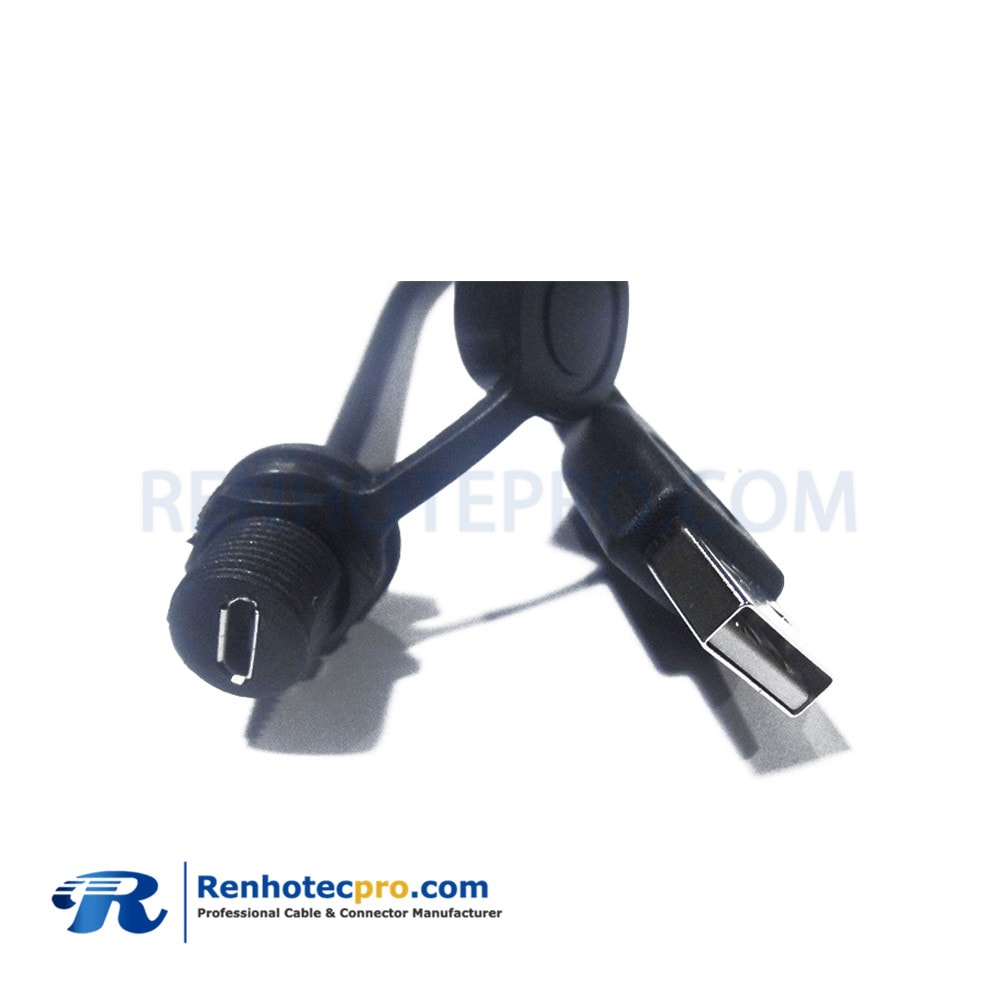 USB Type A Male to micro Waterproof USB Connector 5pin Female Cable 0.1M