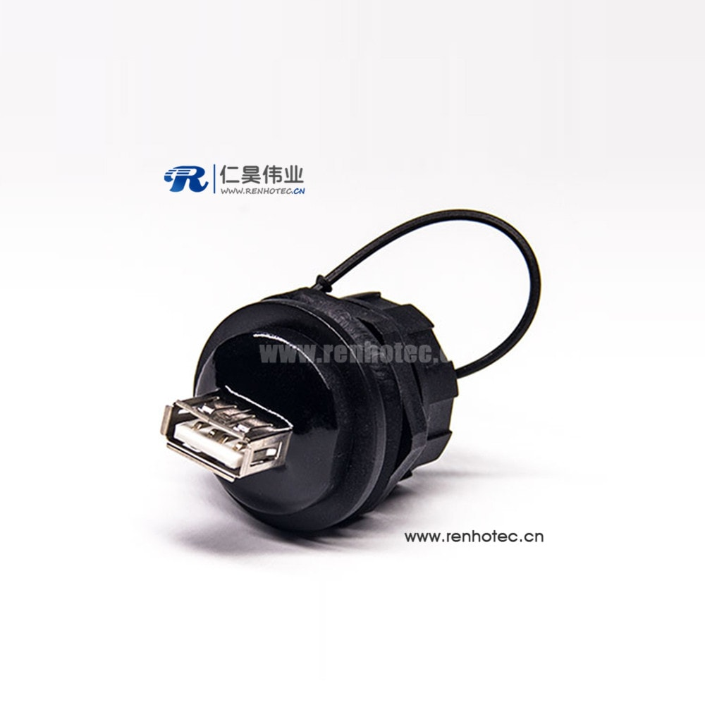 Waterproof USB 2.0 Connectors Type A Female to Male Panel Lock IP67 Waterproof Adapter with Dust Cover