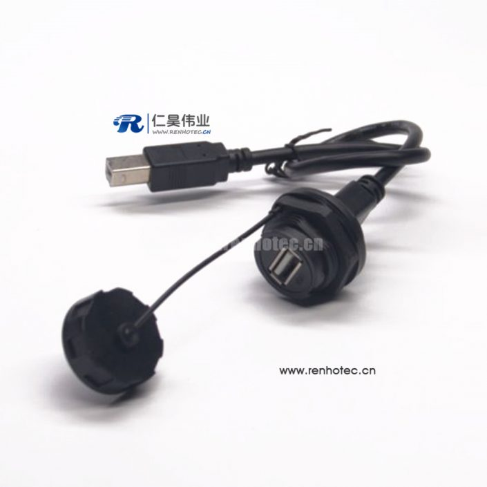 Waterproof USB Connector Panel Mount IP67 USB Type A Female to Type B Male Cable 30cm