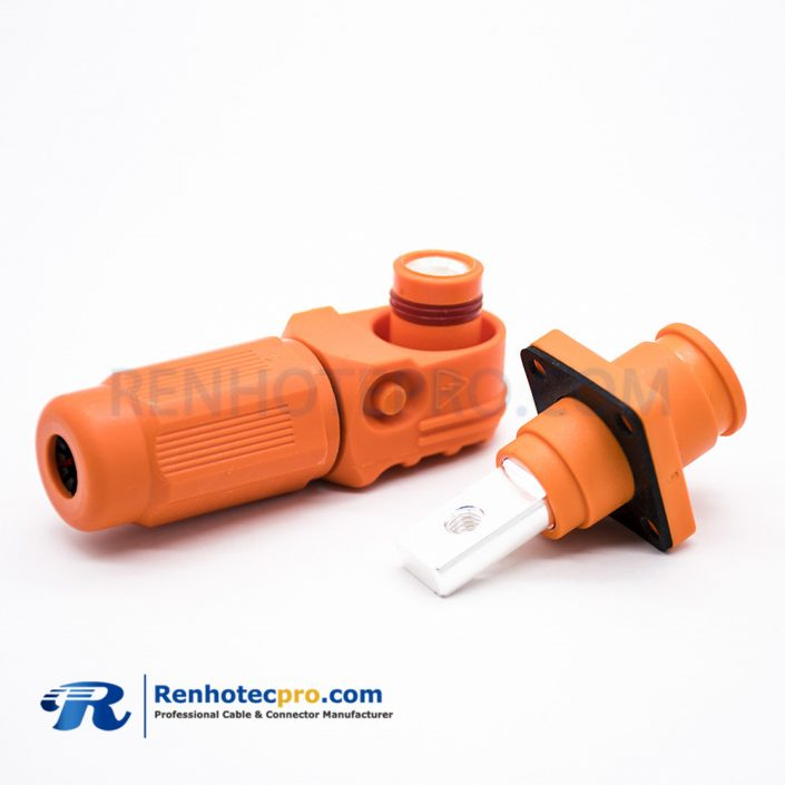 HV Connectors 12mm Crimp Type Plug and Socket Orange Plastic Battery Storage Connector