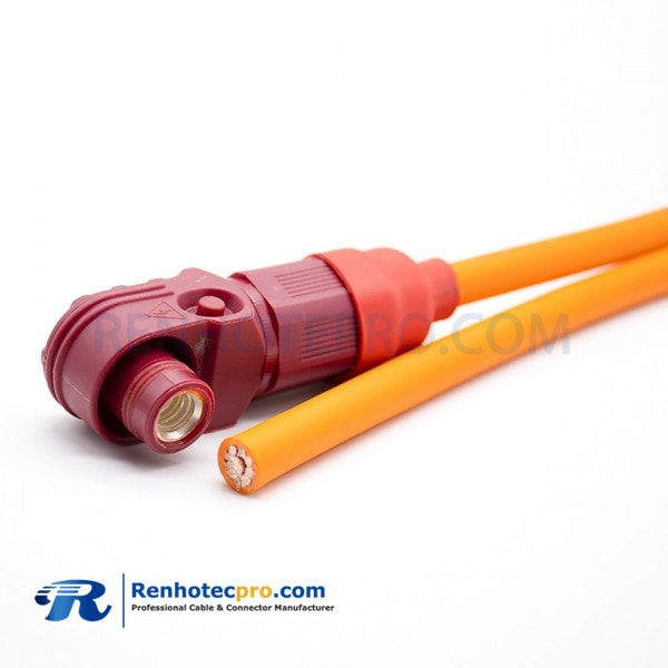 SurLok Connector Male IP67 8mm 1 Pin 120A Plastic Red Cable Right Angle Plug  25m㎡ with wire 30CM