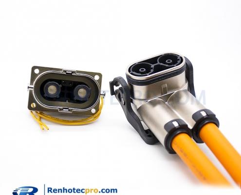 High Voltage Connector EV 1 Pin 180° Metal Socket&Plug 500A Straight Shield HVIL Series