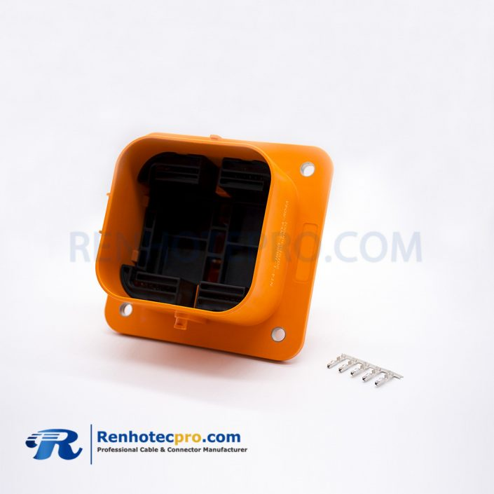 MSD Socket Waterproof IP67 2 Pin 630A Orange Plastic Front Installation Socket