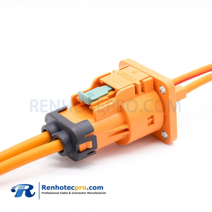 EV High Voltage Connector 2 Pin 16A 2.5mm² Straight Plastic Socket and Plug Coaxial Connector