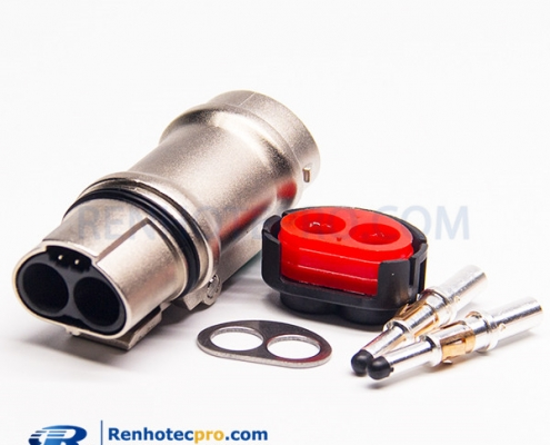 High Voltage Connector 2 Pin Straight Metal Shield Socket For Cable 3.6mm A Key