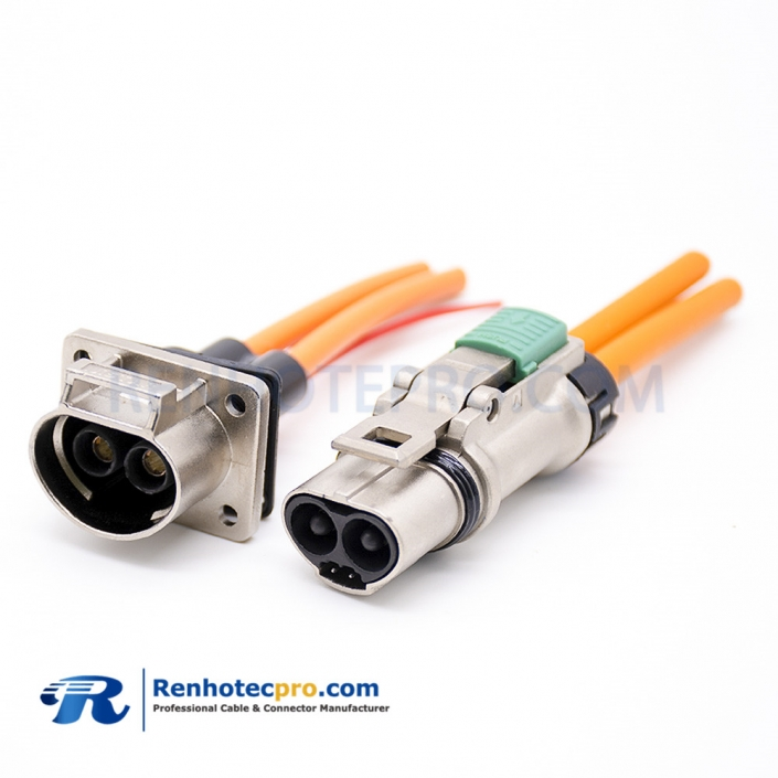 Connector For High Voltage Straight 2Pin Plastic Plug 3.6mm A Key High Voltage Interlock Connector