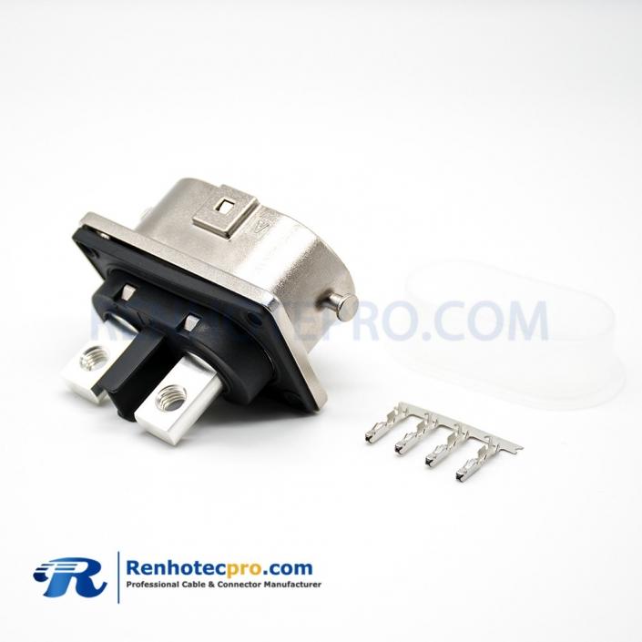 High Voltage Coax Connector 127A Metal Straight M6 Screw Holes U Key 2 Pin Socket HVIL Series