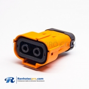 Coaxial High Voltage Connector Through Holes Straight Plastic 150A 6mm 2 Pin Orange Socket