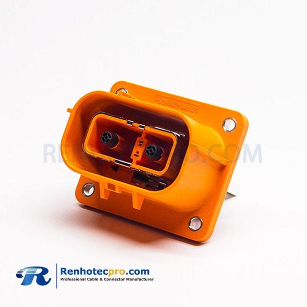 High Voltage Safety Lock Connector 150A Straight Through Holes 6mm 2 Pin Orange Plastic Plug&Socket