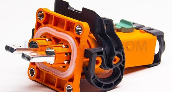 HVIL Connector 2 Pin Socket Orange Plastic 200A 8mm Straight A Key Copper Row Through Hole