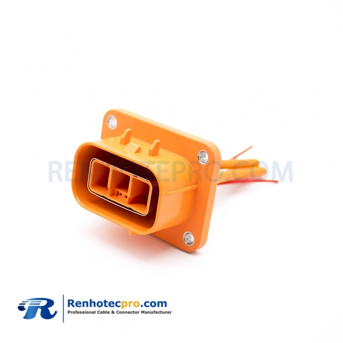 High Voltage Interlock Loop Connector 23A Straight Orange Plastic 2.8mm 3 Pin Plug and Socket