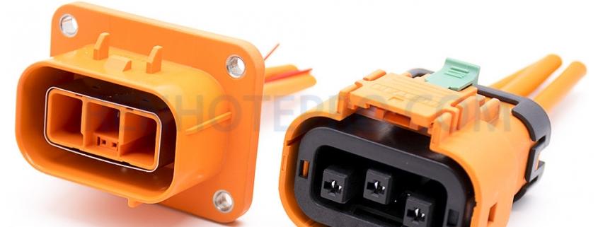 EV High Voltage Connector 3 Pin Plug 35A Straight Metal Shield Plug 3.6mm HVIL Series