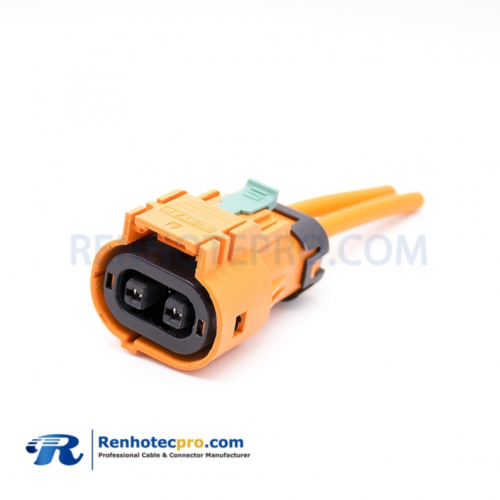 HVIL Connector 2 Pin 23A 2.8mm Straight Plastic Plug High Voltage Interlock Connector
