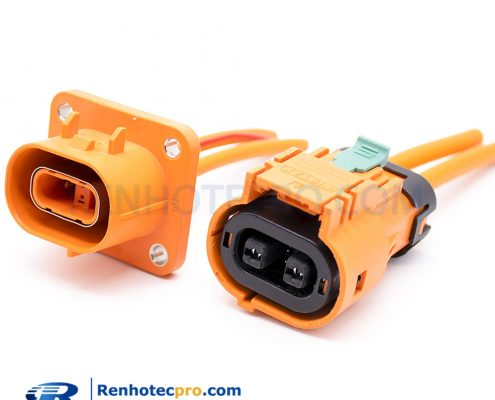 High Voltage Connector 2pin 35A Plug&Socket Straight MAX For Electric Car IP67 4mm²
