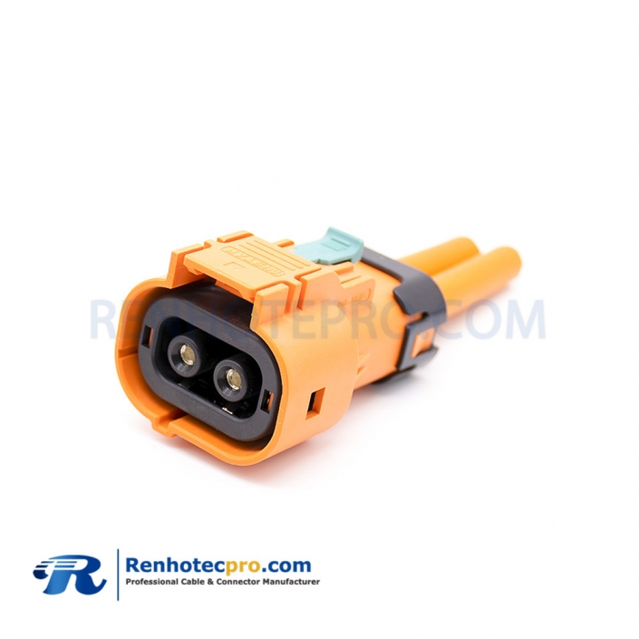 HV Cable Connector Straight 3.6mm 50A 2 Pin Orange Plastic High Voltage Interlock Plug For 0.1m Cable