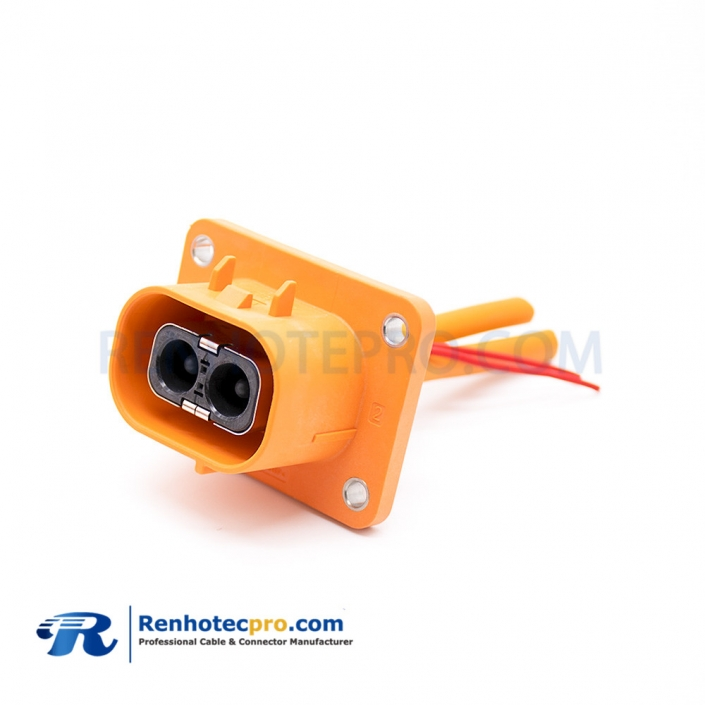 High Voltage Connector 2 Pin Straight Plastic Socket 3.6mm 50A For Cable 0.1M
