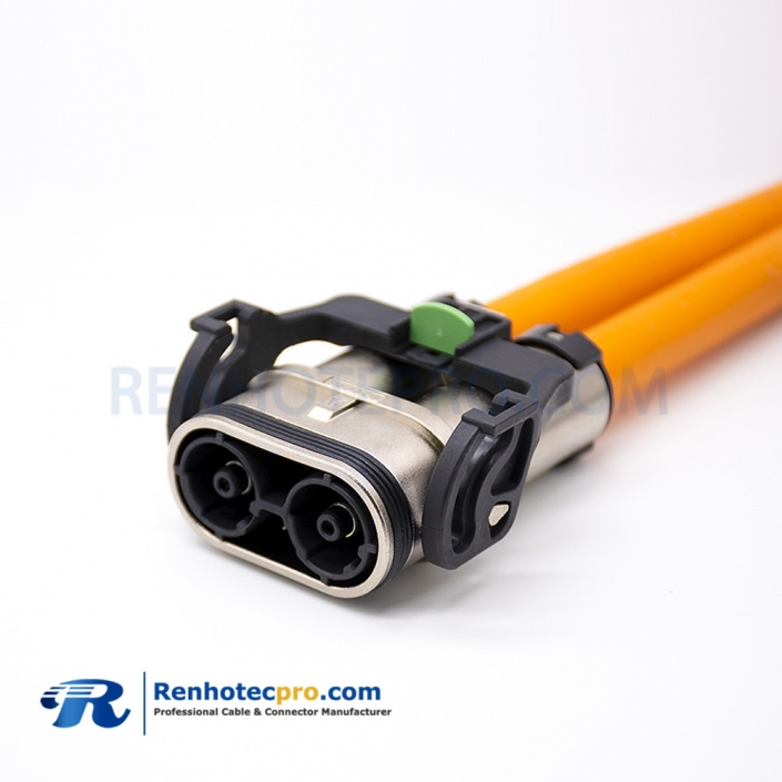HV Connector Cable 2 Pin Metal Straight Plug 6mm 125A For IP67 25mm² 0.25M Cable